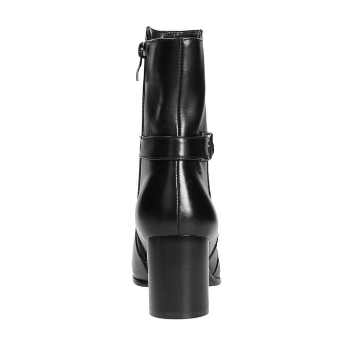 Kožené kotníčkové kozačky na podpatku bata, černá, 696-6648 - 17