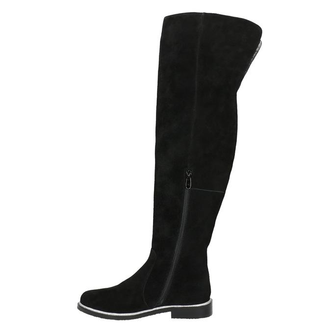 Kozačky nad kolena z broušené kůže bata, černá, 593-6605 - 26
