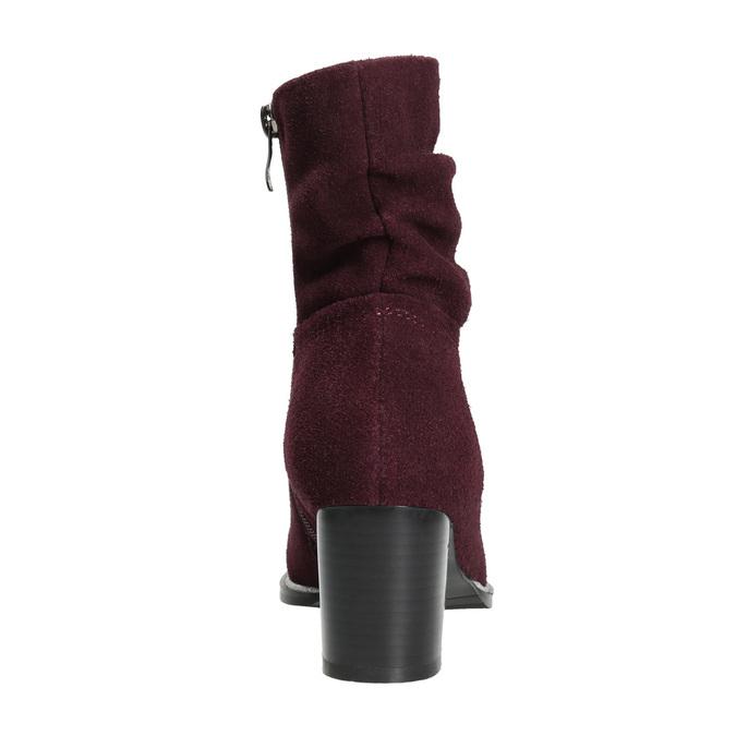 Vínové kožené kozačky bata, červená, 693-5602 - 17