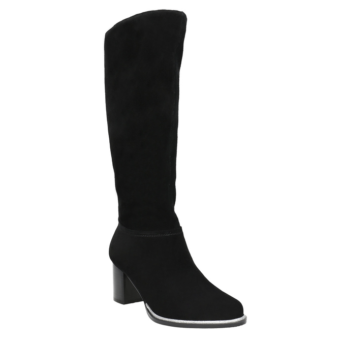 Černé kozačky z broušené kůže bata, černá, 693-6603 - 13