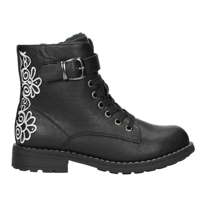 Kotníčková dětská obuv s výšivkou mini-b, černá, 391-6654 - 15
