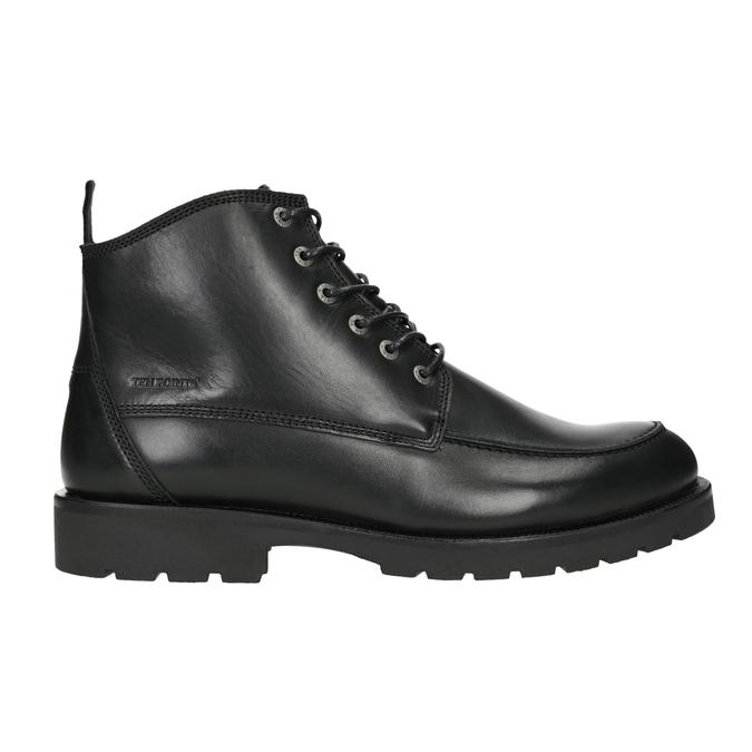 Kožená kotníčková obuv s prošitím na špici ten-points, černá, 896-6029 - 26