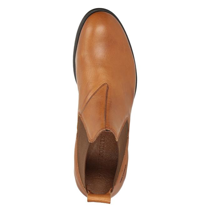 Kožená kotníčková obuv s pružnými boky ten-points, hnědá, 816-3036 - 15