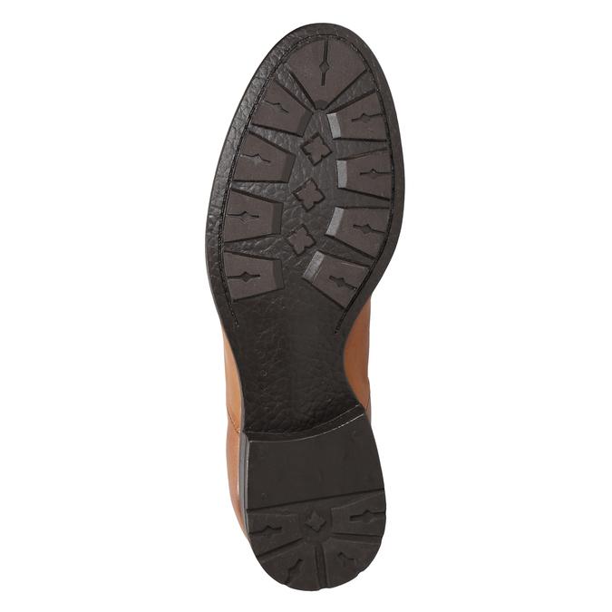 Kožená kotníčková obuv s pružnými boky ten-points, hnědá, 816-3036 - 17