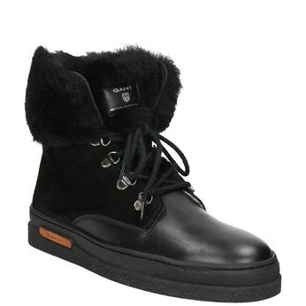 Kožená zimní obuv s kožíškem gant, černá, 526-6051 - 13