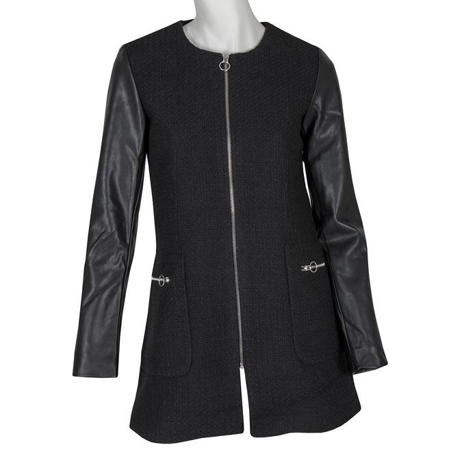 Dámský kabát s koženkovými rukávy bata, černá, 979-6153 - 13