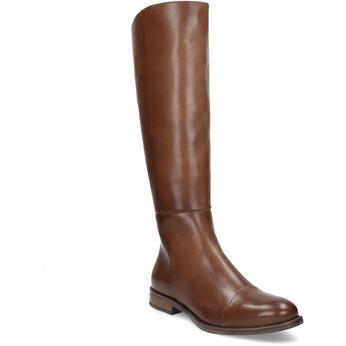 Hnědé kožené kozačky bata, hnědá, 594-4637 - 13