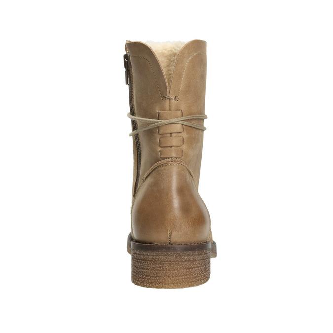 Kožené šněrovací boty dámské bata, hnědá, 596-4663 - 16