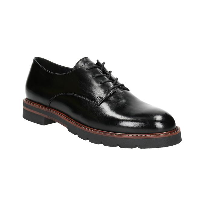 Kožené polobotky na výrazné podešvi bata, černá, 526-6642 - 13