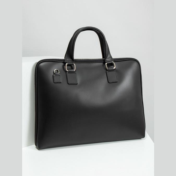 Kožená taška s odnímatelným popruhem bata, černá, 964-6223 - 18