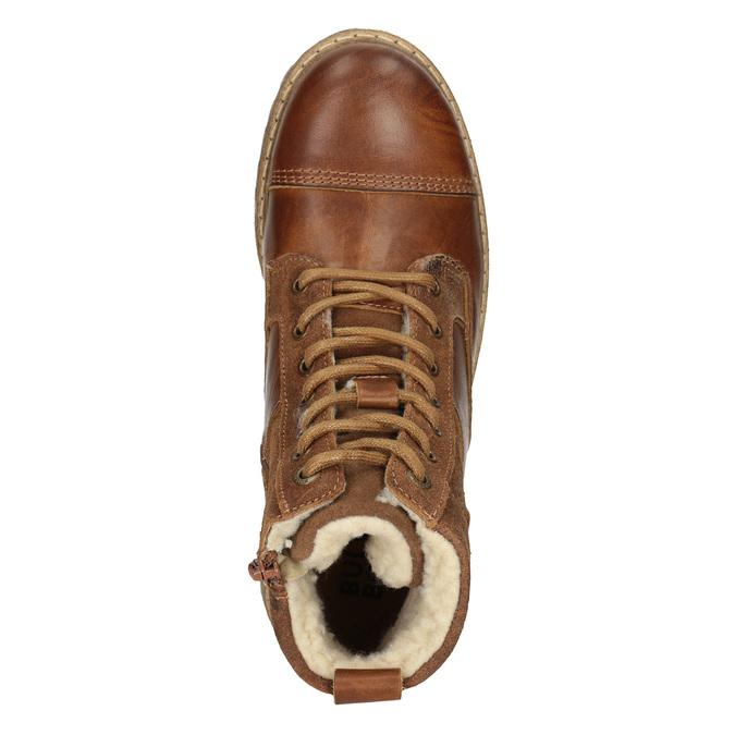 Dívčí kožená kotníčková obuv bullboxer, hnědá, 494-3022 - 15