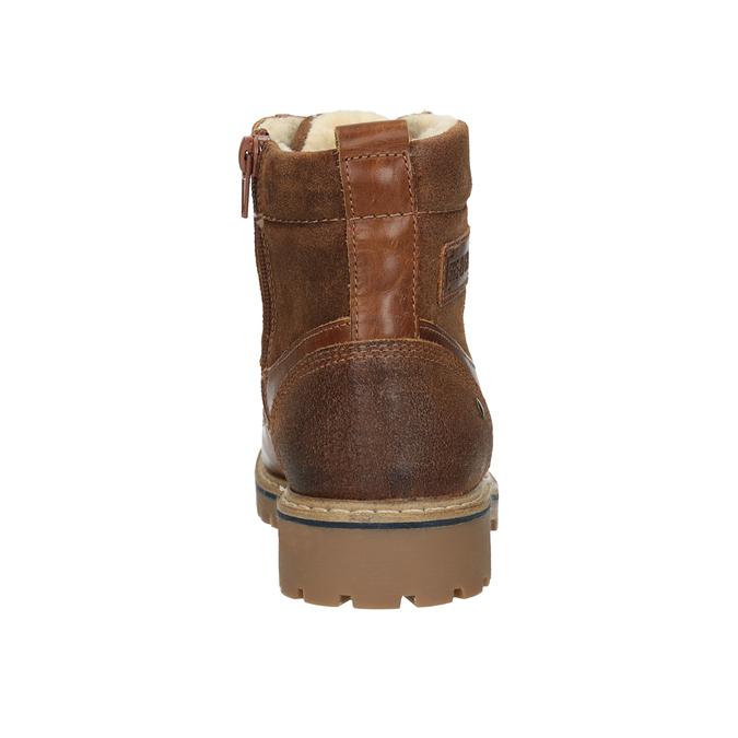 Dívčí kožená kotníčková obuv bullboxer, hnědá, 494-3022 - 16