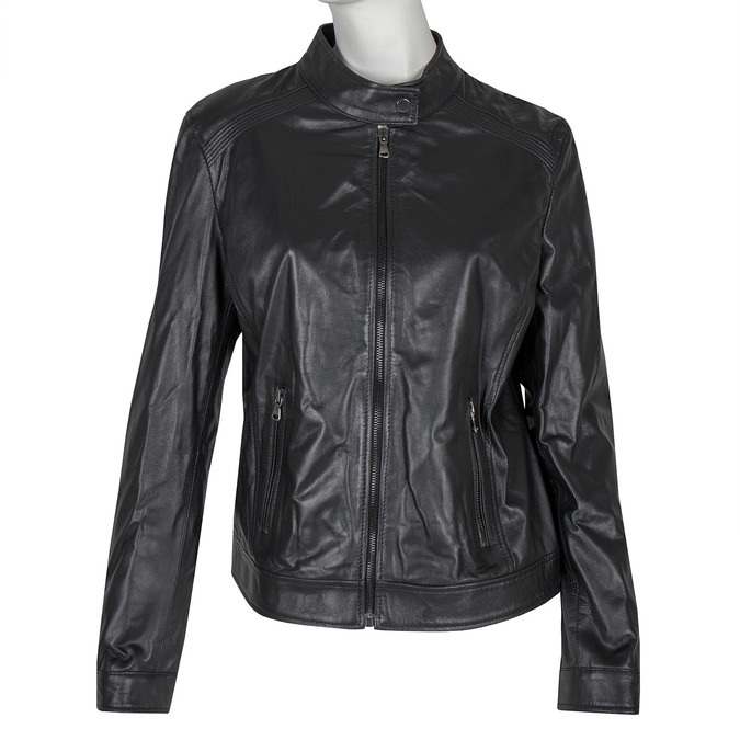 Černá kožená bunda bata, černá, 974-6175 - 13