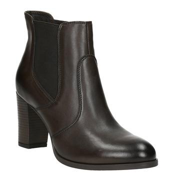 Kožené kotníčkové boty na podpatku bata, hnědá, 796-4647 - 13
