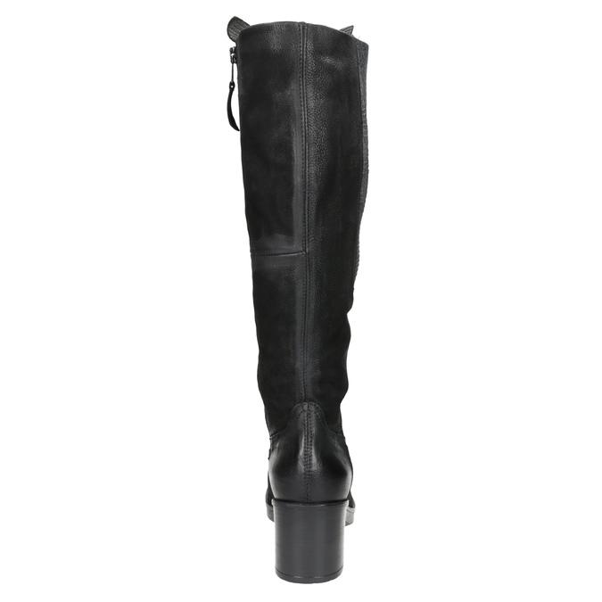 Kožené kozačky na stabilním podpatku bata, černá, 696-6647 - 16