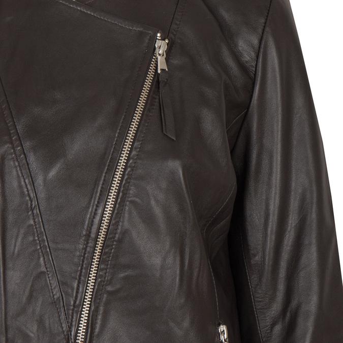 Dámská kožená bunda s asymetrickým zipem bata, hnědá, 974-4177 - 16