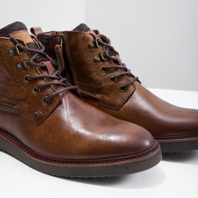 Kožená kotníčková obuv bata, hnědá, 896-3675 - 14