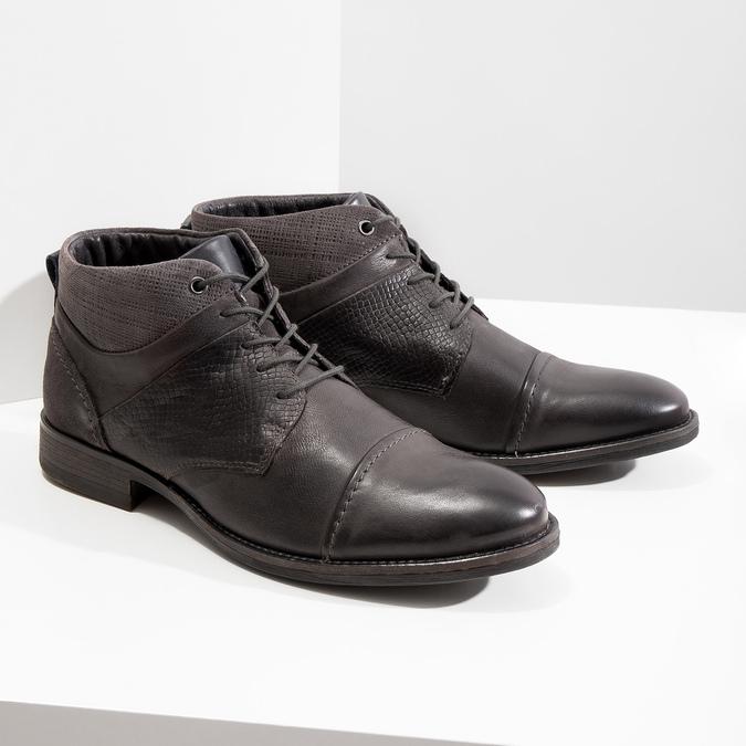 Kožená kotníčková obuv se strukturou bata, šedá, 826-2616 - 18