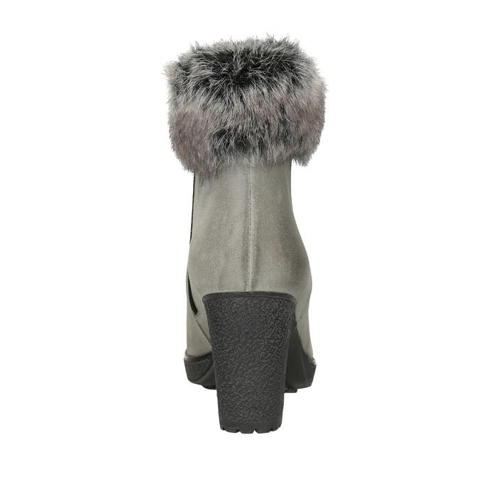 Kožené kotníčkové kozačky na podpatku, šedá, 793-2610 - 16
