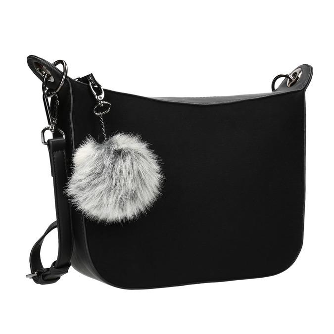 Dámská kabelka s přívěskem bata, černá, 961-6823 - 13
