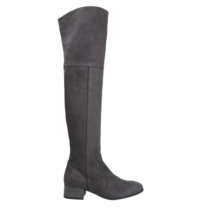 Kožené dámské kozačky nad kolena bata, šedá, 693-2604 - 26