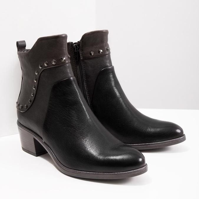 Kotníčková kožená obuv s kovovými cvoky bata, černá, 696-6652 - 18