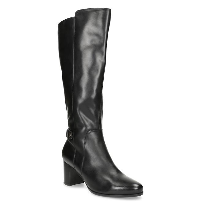 Černé kožené kozačky s prošitím bata, černá, 694-6639 - 13