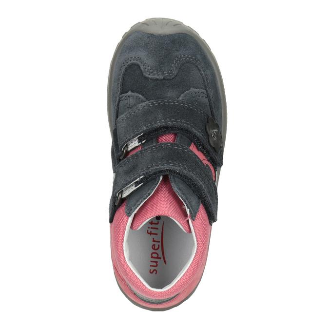 Kotníčková kožená dívčí obuv superfit, šedá, 123-2035 - 15