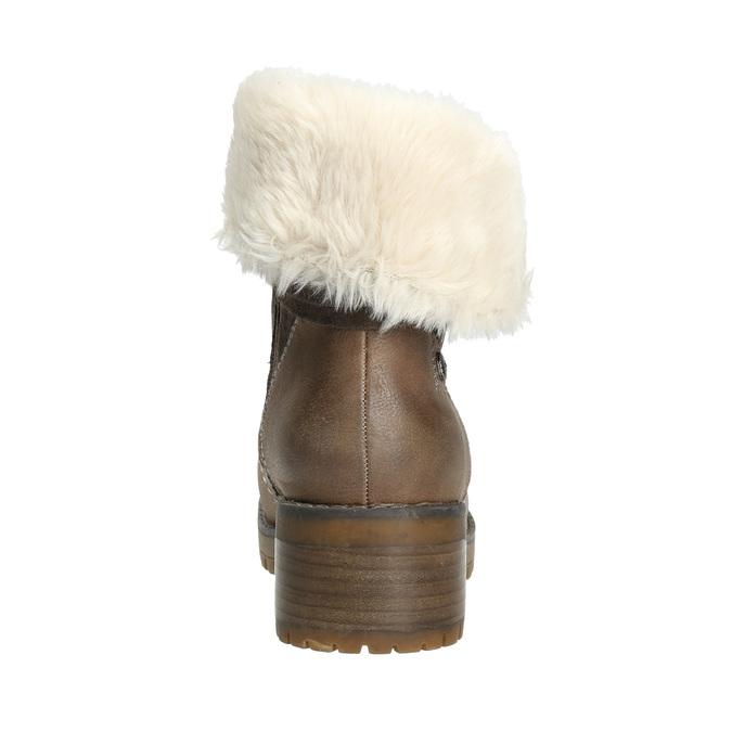 Kotníčková obuv s kožíškem bata, hnědá, 691-2633 - 17