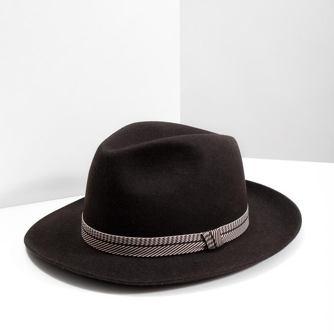 Tmavě hnědý pánský klobouk tonak, hnědá, 909-4654 - 18