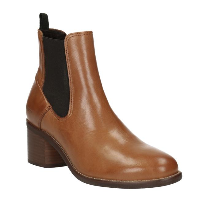 Kožená kotníčková obuv  v Chelsea stylu ten-points, hnědá, 716-3046 - 13