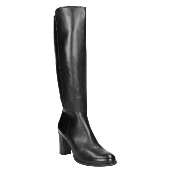 Kožené kozačky na podpatku bata, černá, 794-6648 - 13