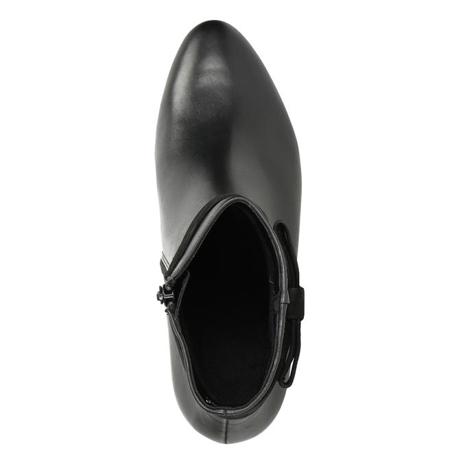 Kožená kotníčková obuv s mašlí gabor, černá, 714-6031 - 15