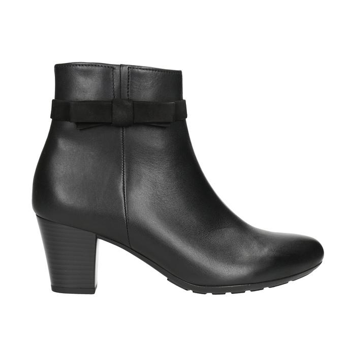 Kožená kotníčková obuv s mašlí gabor, černá, 714-6031 - 26