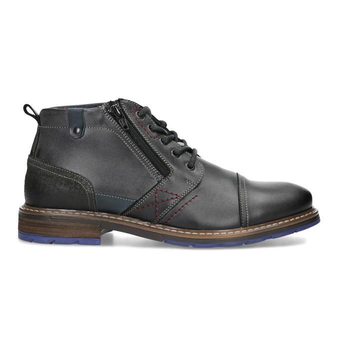Pánská kožená kotníčková obuv se zipem bata, šedá, 896-2678 - 19