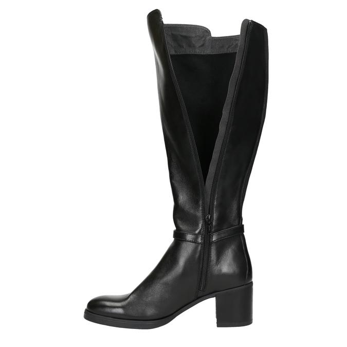 Kožené dámské kozačky na stabilním podpatku bata, černá, 694-6637 - 26