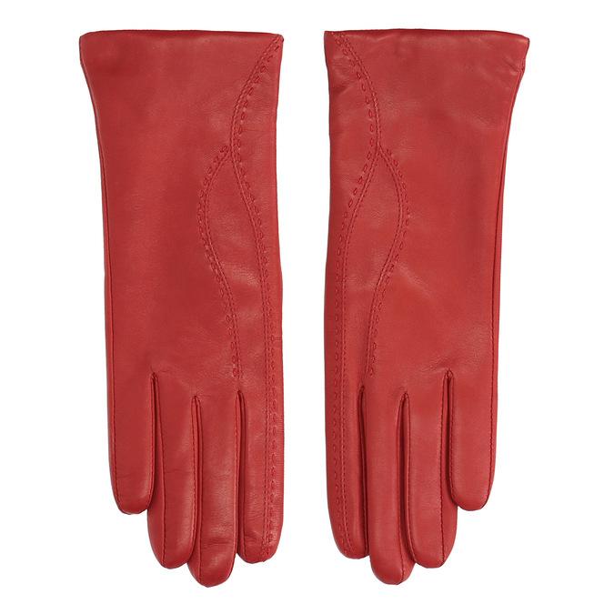 Dámské kožené rukavice fialové junek, červená, 924-5040 - 26