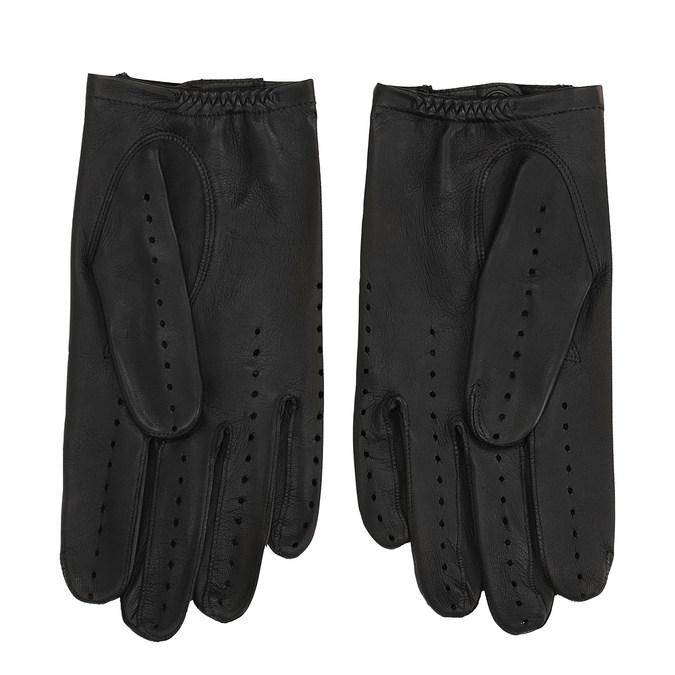Kožené rukavice s perforací junek, černá, 904-6001 - 16