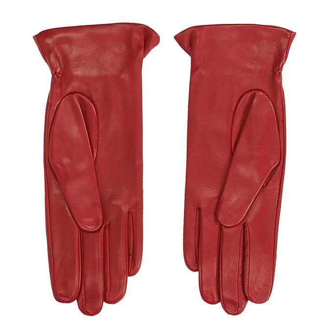 Červené kožené rukavice junek, červená, 924-5011 - 16