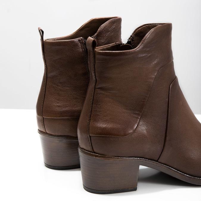 Kotníčkové kozačky na stabilním podpatku bata, hnědá, 696-4654 - 14