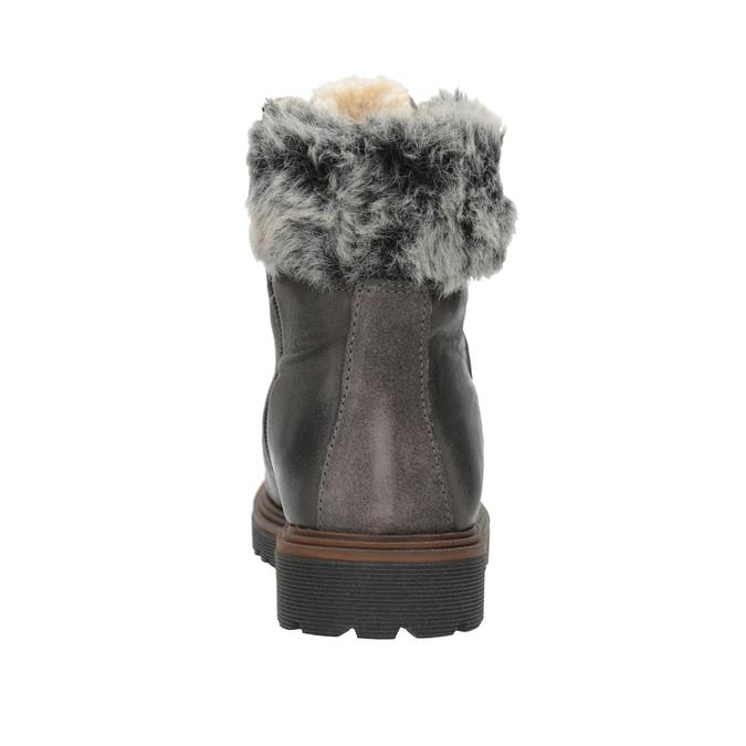 Kožená zimní obuv s kožíškem bata, šedá, 594-6650 - 15