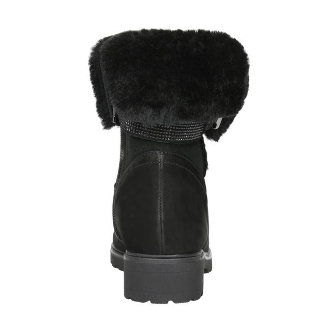 Kožená kotníčková obuv s kožíškem gabor, černá, 616-6009 - 16