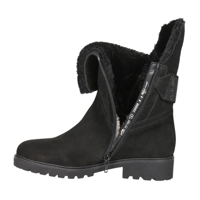 Kožená kotníčková obuv s kožíškem gabor, černá, 616-6009 - 15