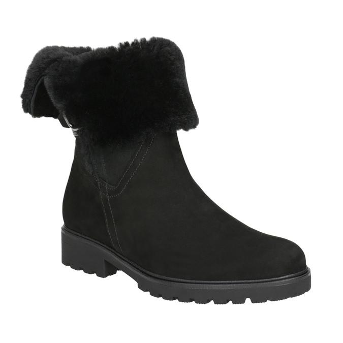 Kožená kotníčková obuv s kožíškem gabor, černá, 616-6009 - 13