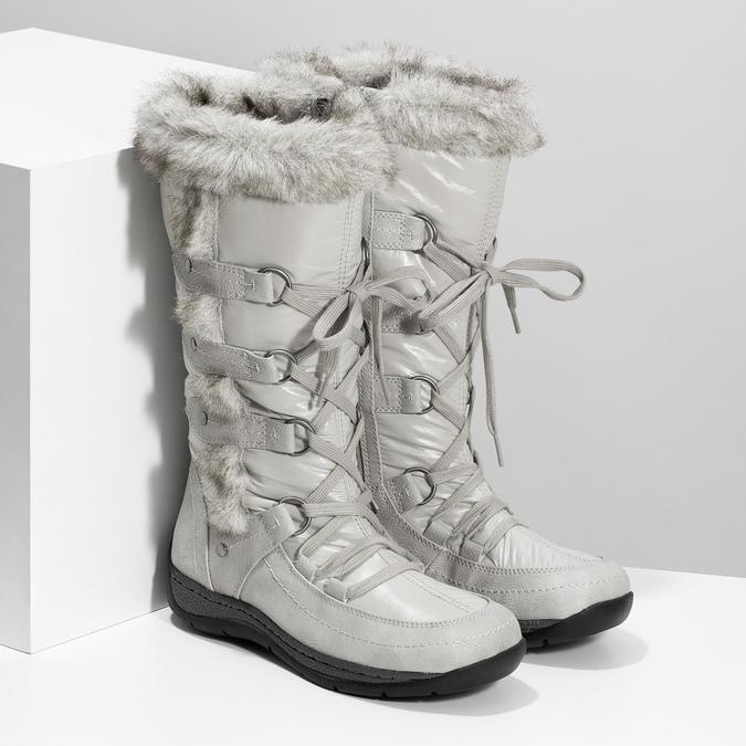 Zimní sněhule s kožíškem bata, šedá, 599-8618 - 26