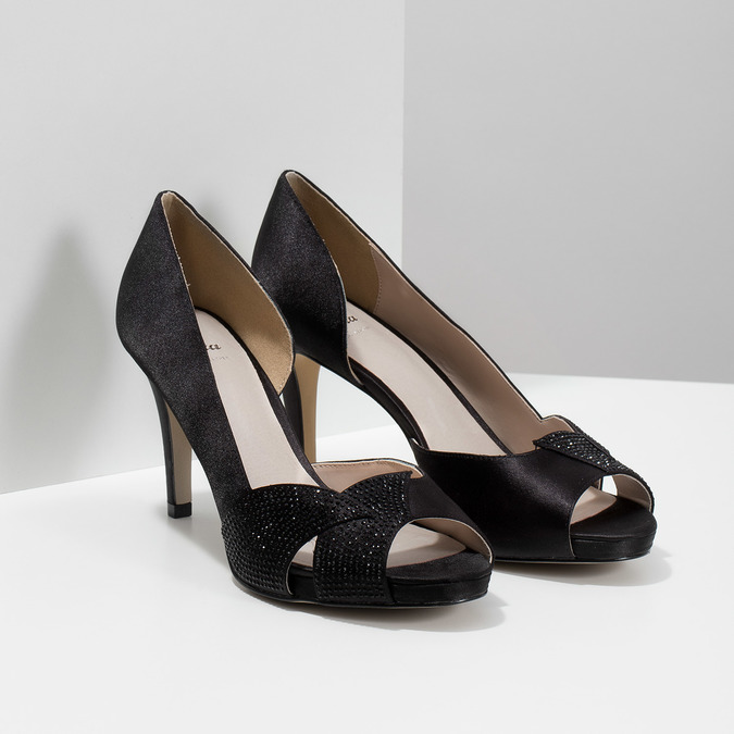 Černé lodičky s kamínky bata, černá, 729-6613 - 26