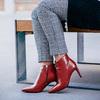 Kožené kotníčkové kozačky červené bata, červená, 794-5651 - 18