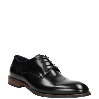 Černé kožené Derby polobotky bata, černá, 826-6681 - 13