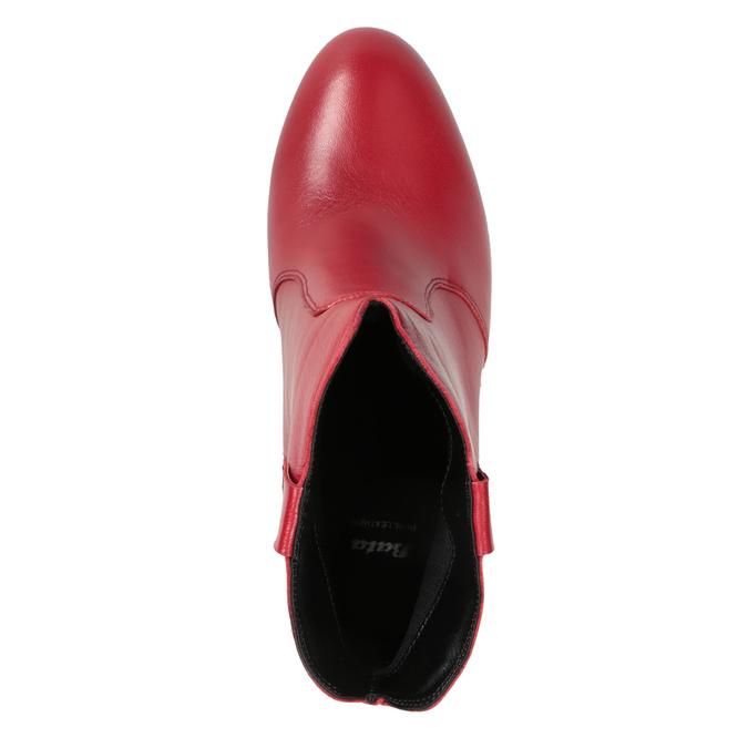 Červené kotníčkové kozačky z kůže bata, červená, 794-5652 - 17