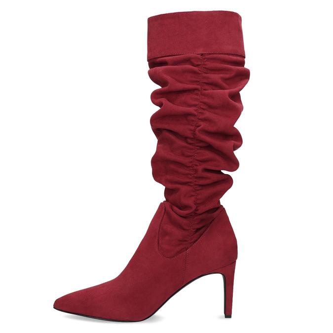 Dámské červené kozačky s řasením bata, červená, 799-5619 - 17